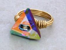 Gold Plated Triangle Crystal Wire Wrap Ring made with Swarovski Crystal Elements