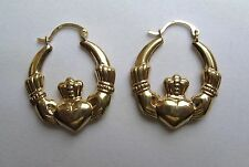 9Ct Gold Large Claddagh Creole Earrings 2g Hallmarked