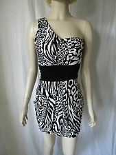 Animal black & white animal print one shoulder bodycon dress Size 10 New