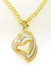 Damen Herz Anhänger tricolor Gold 585 er 14 Kt. gelb, weiss & rotgold
