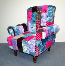 Patchwork Armchair Vintage Country Sofa Chair Indian Velvet Upholstery Colorful