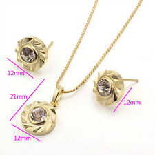 18k Gold Filled  Necklace Pendant Earrings Set. Crystal stone -white