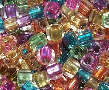 50 x 3D Illusion MIRACLE Cubes Acrylic Beads 8mm - Mixed Colours Squares PB32