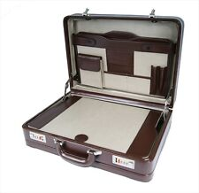 Briefcase Large Leather Briefcases Faux PU Brown Leather Attache 318B Roamlite