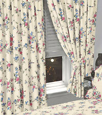 """FLORAL 66"""" x 72"""" READY MADE PENCIL PLEAT CURTAINS CREAM BLUE PINK ROSE FLOWERS"""
