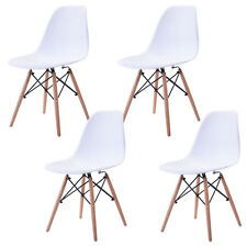Set of 4 White Dining Eames Style Chairs Retro Designer Wood Tube Legs PP Seat