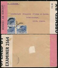 KUT to FRANCE RAILWAY TPO 1942 BUKENE 2 TYPES of CENSOR 10c SURCHARGES FRANKING