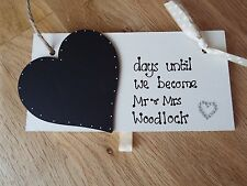Personalised *countdown to wedding chalkboard plaque engagement gift Mr & Mrs