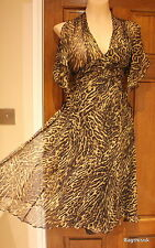 Karen Millen Exquisite Leopard Print Silk Cocktail Dress Size 8