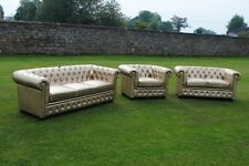 Brand New Gold Bycast Leather Chesterfield Diamante 3 Piece Suite Stunning item