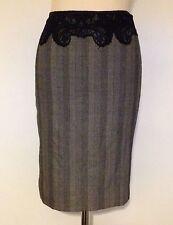Versace Designer Herringbone Tweed Wool / Silk Pencil Knee Length Skirt 10 12