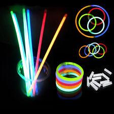"""100 Pcs 8"""" Glow Sticks Bracelets Necklaces Neon Mix Colors Party Christmas Favor"""
