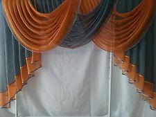 Querbehang, Deko-Gardine  grau /orange 1,60m breit