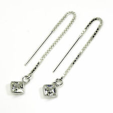 925 Sterling Silver - Pull Through Threader Earrings with Clear CZ Stone