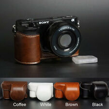 Camera leather case bag strap for Sony alpha a6000 A6300 With 16-50mm Lens ONLY