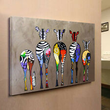 "Abstract ""Multicolored Zebra"" HD Canvas Prints Wall Art Painting Picture FRAMED"