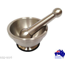 Stainless Steel Mortar and Pestle Set Pedestal Bowl Kitchen Garlic Pugging Pot