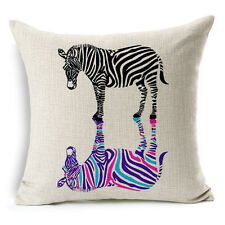 Vintage Linen Cotton Couch Sofa Cushion Cover Throw Pillow Case Zebra 45X 45 cm