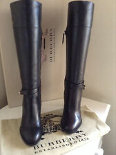 Burberry Black Leather Knee High Boots UK2 Eur35