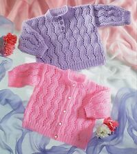 Gorgeous BABY Knitting Pattern knitted in  8 Ply CARDIGAN & Jumper