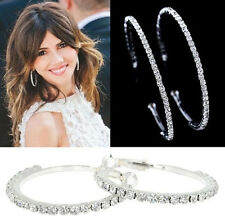 Women Silver Plated Diamante Crystal Rhinestone Hoop Round Earring Jewelry Gift