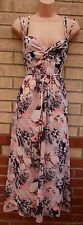 PINK STRAPPY BLACK FLORAL BELTED LYCRA SILKY SUMMER GYPSY LONG MAXI DRESS S 8 10