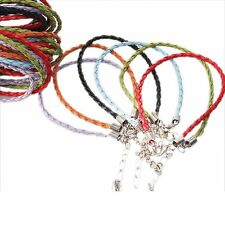 36pcs 130106 Mixed Charms Imitation Leather Braided Lobster Bracelet Cord 20cm