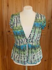 PER UNA blue green lime turquoise cream floral short sleeve tunic t-shirt top 18