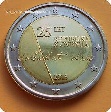 """2 Euro Gedenkmünze 2016 Slowenien """" 25 Jahre Unabhängigkeit """" Neu, Stempelglanz"""