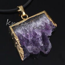 Gold Plated Natural Amethyst Quartz Cluster Drusy Crystal Random Pendant Jewelry
