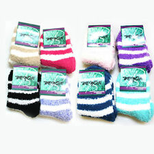 4 X Pairs Lady's Striped Soft Fluffy Lounge Cosy Bed Socks