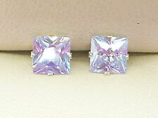AMETHYST SILVER STUD EARRINGS LAVENDER PRINCESS SQUARE 5mm CREATED STONE