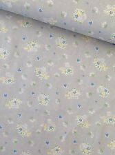 Flowers & Hearts Blue 100% Cotton Quilting fabric - Per metre