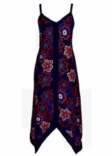 Purple Blue paradise Beach holiday spring summer dress hanky hem 22 NEW V neck