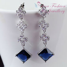 18K White Gold Plated Swarovski Crystal Diamond Shaped Banquet Dangling Earrings