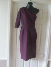 BNWT SOLD OUT @ ASOS BURGUNDY ONE SHOULDER CUT AWAY TEXTURED MIDI DRESS SIZE 10