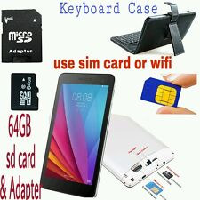 """7"""" Inch SIM Phone Call Tablet PC Quad Core Dual WiFi/Camera GPS with case and sd"""