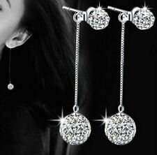 SILVER DOUBLE SHAMBALLA CRYSTAL CHAIN DROP DANGLE EARRINGS