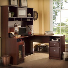 computer desk workstation table 60 l shape with hutch in harvest cherry bush desk hutch office