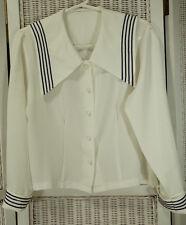 """Vintage Women's Sailor Blouse Size M-L Nautical Top Maritime Shirt 41"""" Chest"""