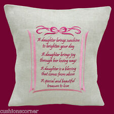 "BRAND NEW Laura Ashley Linen Embroidered Daughter Message 16""x16"" Cushion Cover"