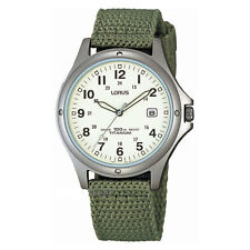 Lorus Gents Quartz Sports Watch with White Dial and Green Military Style Canvas