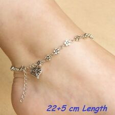 Tibetan Silver Plated Flower Daisy Chain with Heart Charm Ankle Anklet Jewelry