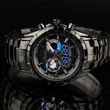 INFANTRY Mens Digital Analog Wrist Watch Dual Time Sport Black Stainless Steel