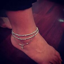 Womans Anklet Silver Crystal Hamsa Hand Charm Double Wrap Bohemian Gypsy Summer