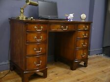 Bevan Funnell Mahogany Twin Pedestal Writing Desk Brown Leather Top