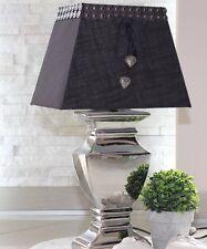 Tischleuchte 52 cm XL Stehlampe Keramik Silver Platet Silber Lampe Shabby Chic