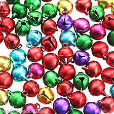 Aluminium JINGLE BELL Pendant Charms 50 Assorted Colours x 10mm Christmas Craft