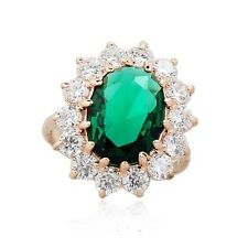 STUNNING LARGE 18K GOLD PLATED EMERALD GREEN SWAROVSKI CRYSTAL AND CZ RING