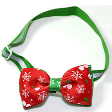 Polyester Pet Puppy Dog Cat Bow Tie Necktie Bowknot Adjustable Collar With Bell^